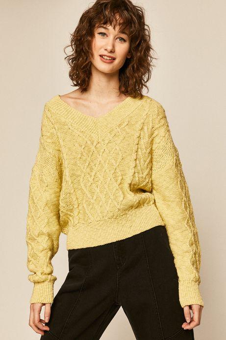 Sweter damski ze splotem żółty