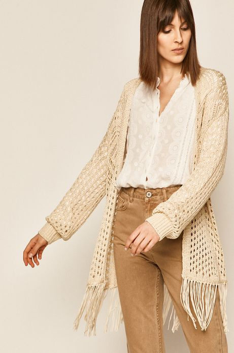 Sweter damski z frędzlami kremowy