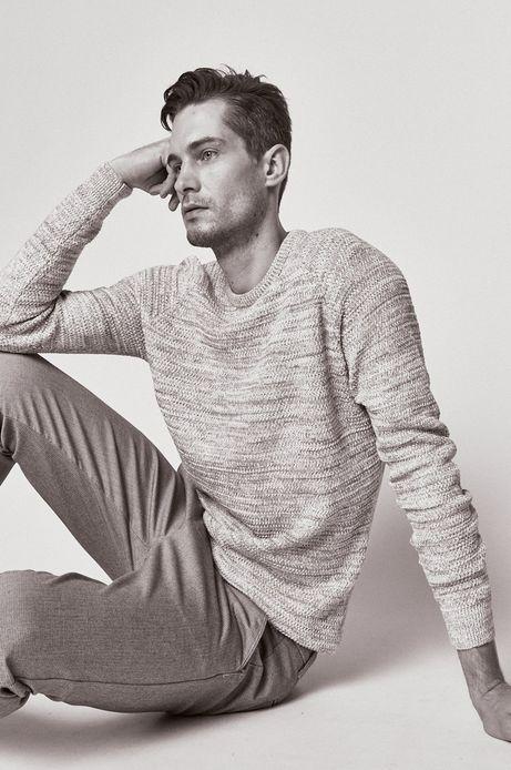 Sweter męski z domieszką lnu beżowy