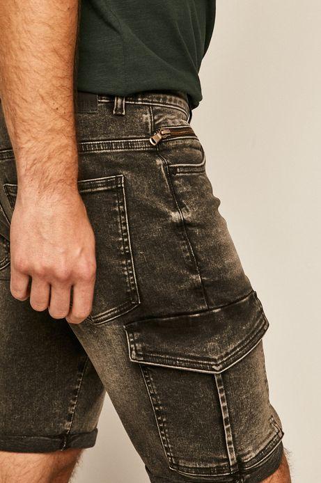 Szorty jeansowe męskie z kieszeniami cargo czarne