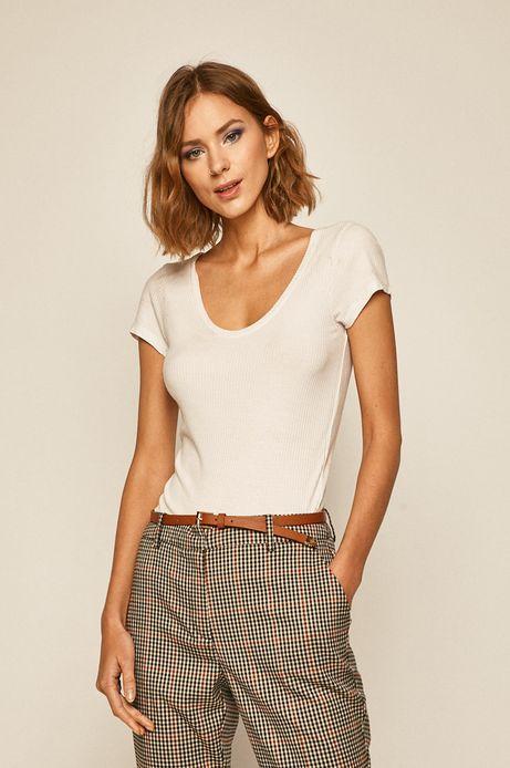 T-shirt damski w prążki biały