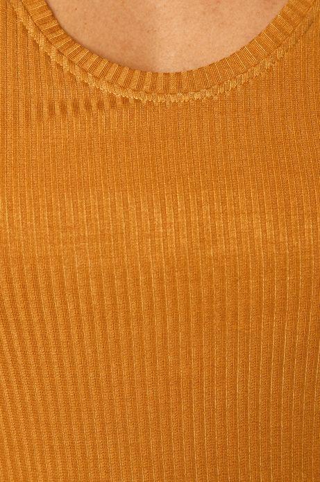 T-shirt damski w prążki żółty