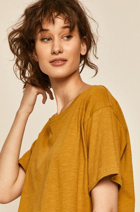 T-shirt damski bawełniany żółty
