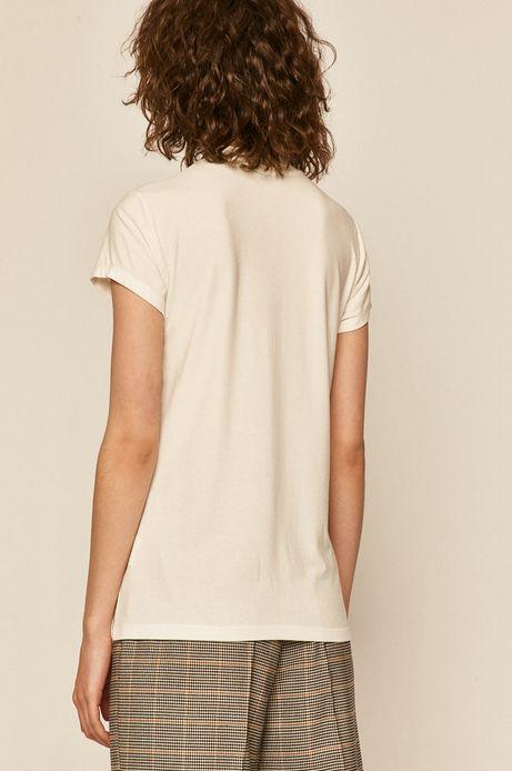 T-shirt damski z półgolfem kremowy