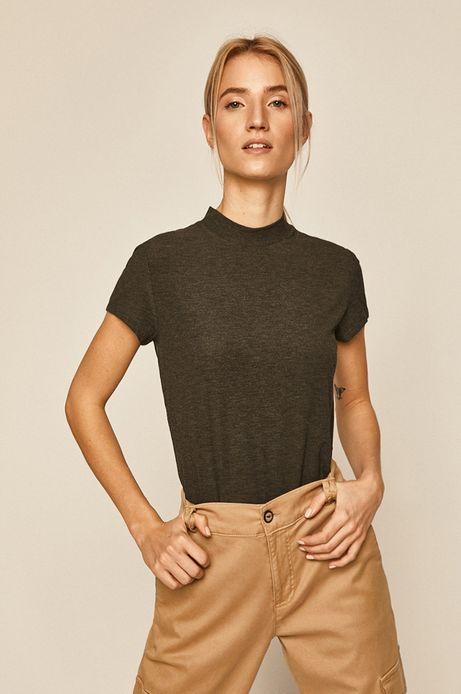 T-shirt damski z półgolfem szary