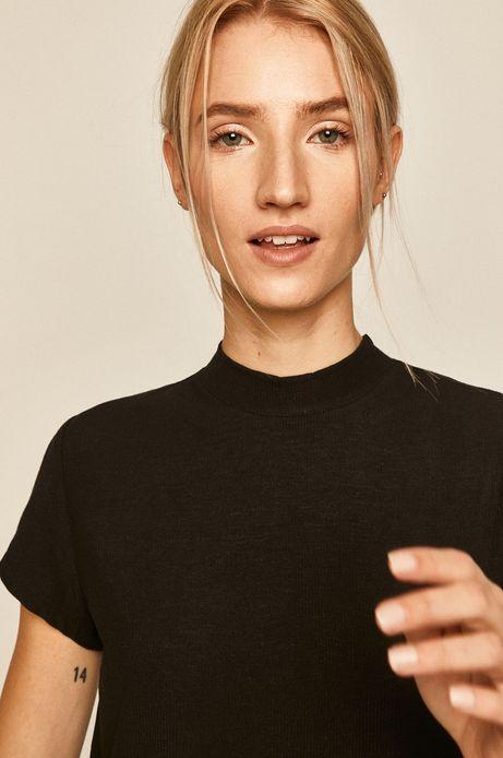 T-shirt damski z półgolfem czarny