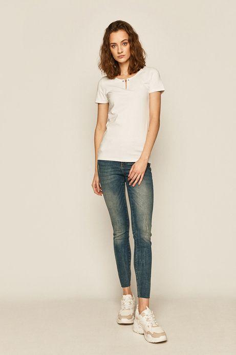 T-shirt damski z ozdobnym detalem biały