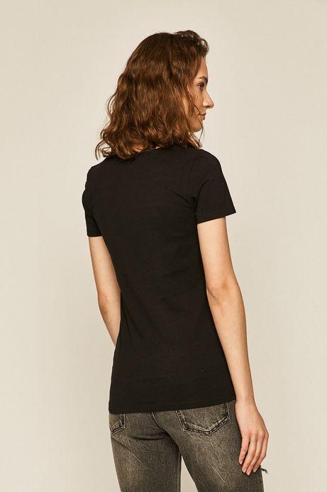 T-shirt damski z ozdobnym detalem czarny