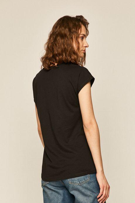 T-shirt damski z transparentnymi wstawkami czarny