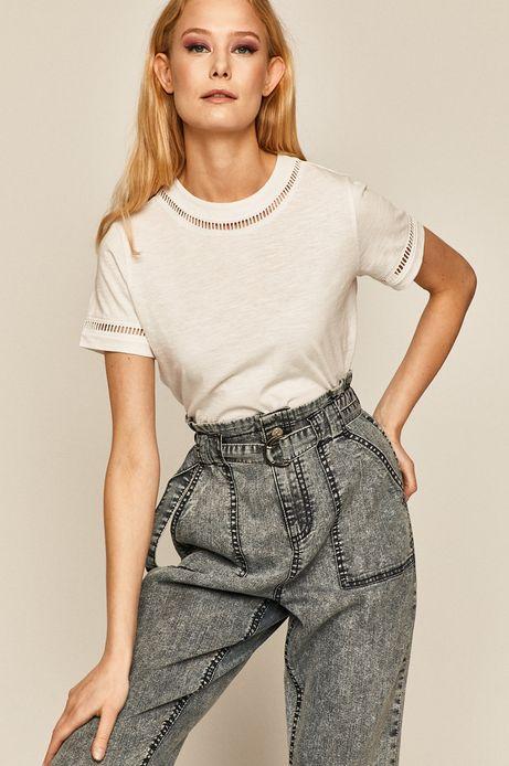 T-shirt damski z ozdobnymi wstawkami biały