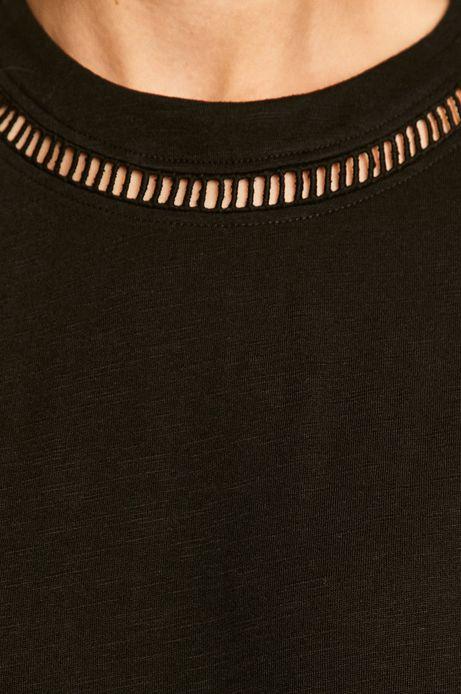 T-shirt damski z ozdobnymi wstawkami czarny