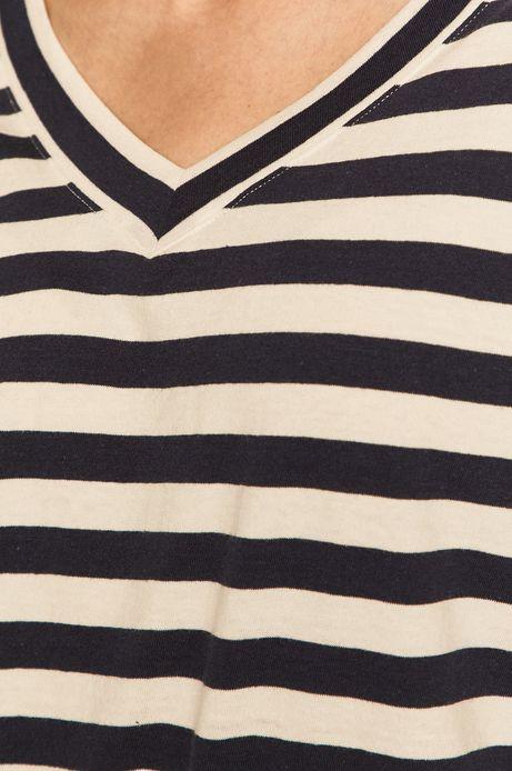 T-shirt damski ze spiczastym dekoltem w paski