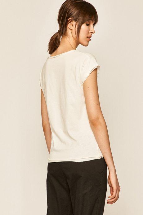 T-shirt damski gładki kremowy