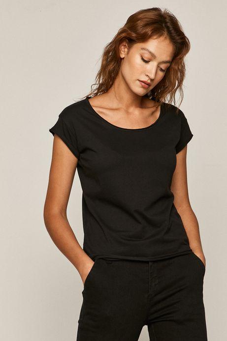 T-shirt damski gładki czarny