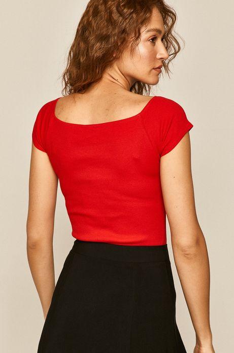 T-shirt damski z z dekoltem typu łódka czerwony