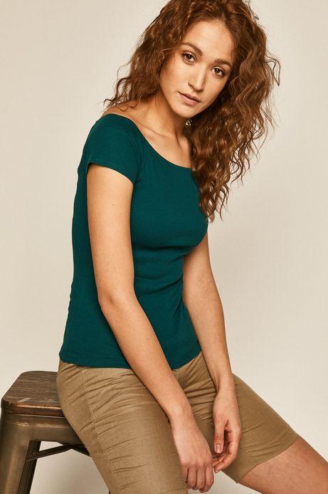 T-shirt damski z z dekoltem typu łódka zielony