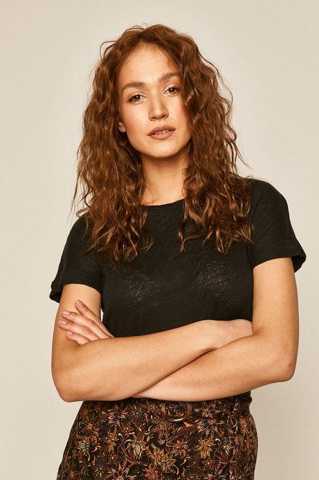 T-shirt damski lniany czarny