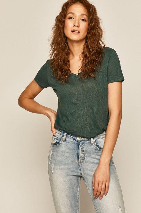 T-shirt damski lniany zielony