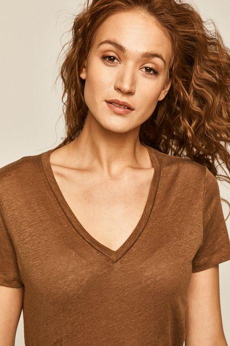 T-shirt damski lniany brązowy