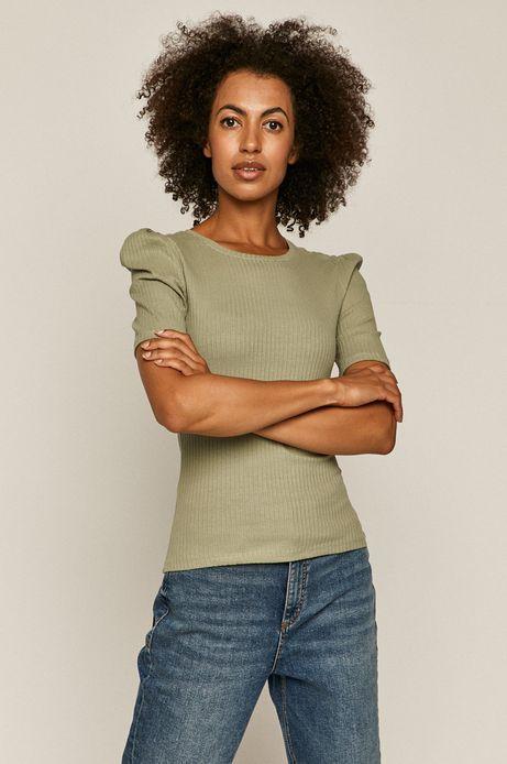 T-shirt damski w prążki turkusowy