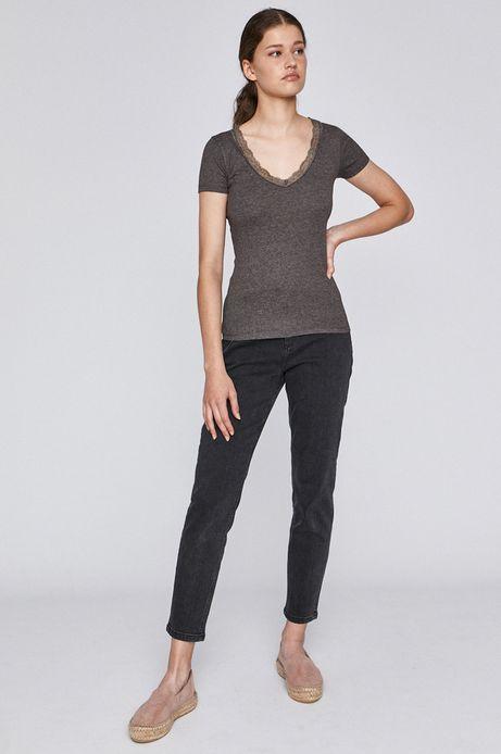 T-shirt damski z koronkową wstawką szary