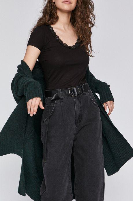 T-shirt damski z koronkową wstawką czarny