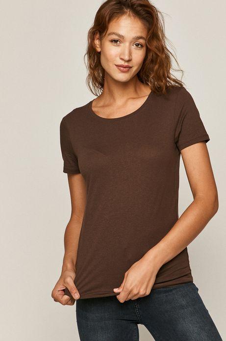 T-shirt damski z bawełny organicznej brązowy
