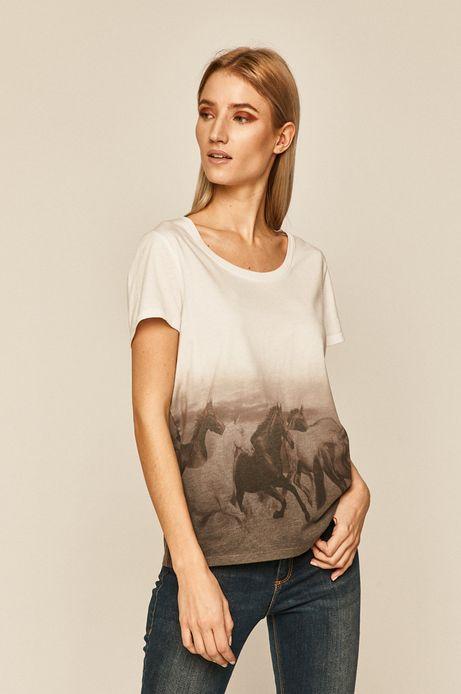 T-shirt damski wzorzysty biały