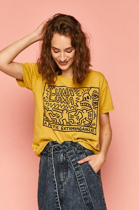 T-shirt damski by Keith Haring żółty