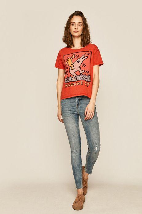 T-shirt damski by Keith Haring czerwony