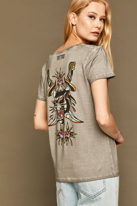 T-shirt damski by Gruby Kruk, Tattoo Konwent szary