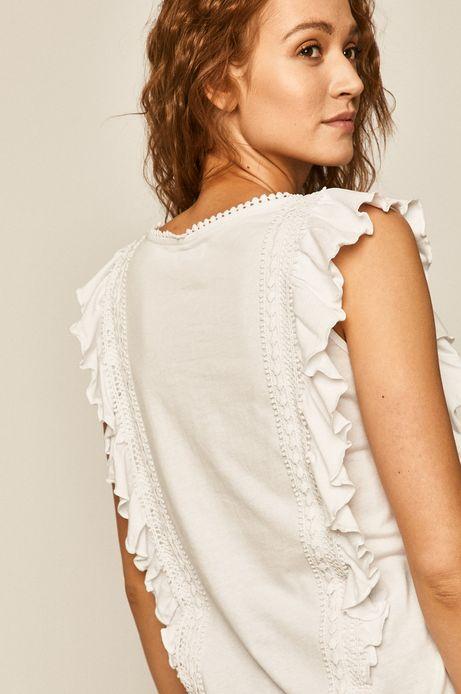 Bawełniany top damski z falbankami biały