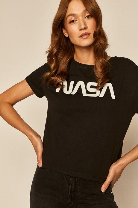 T-shirt damski Nasa z nadrukiem czarny
