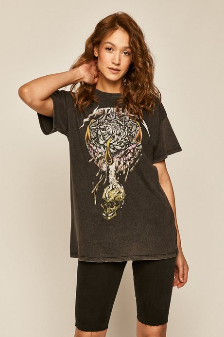 T-shirt damski Metallica z nadrukiem szary