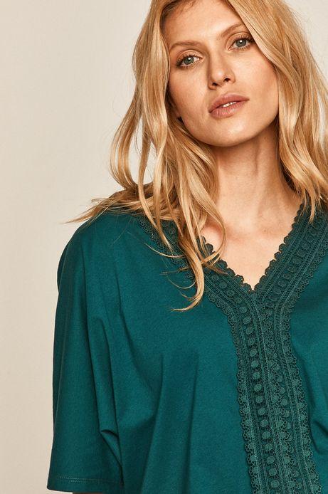 T-shirt damski z koronkową aplikacją zielony