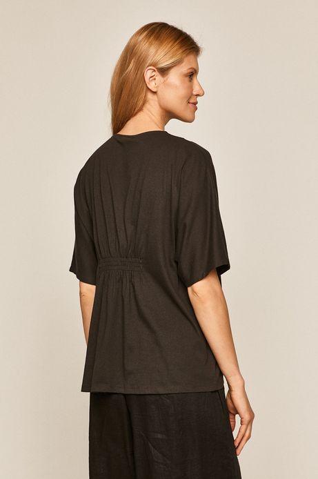 T-shirt damski z koronkową aplikacją szary
