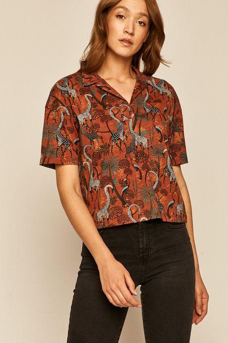 T-shirt damski z kołnierzykiem wzorzysty