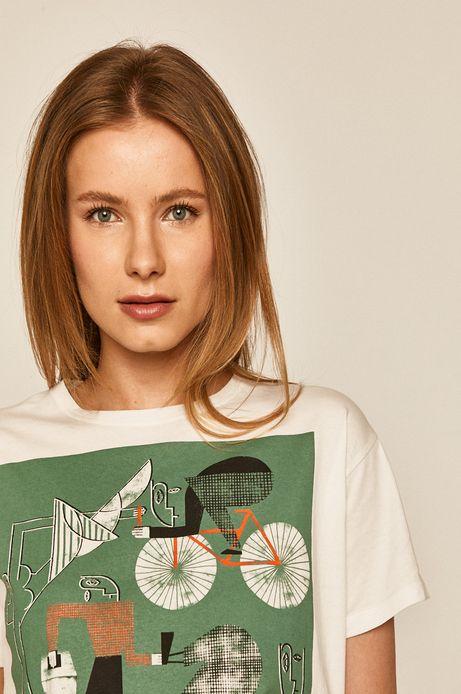T-shirt damski by Paulina Adamowska, Grafika Polska biały