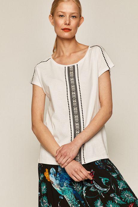 T-shirt damski z aplikacją biały