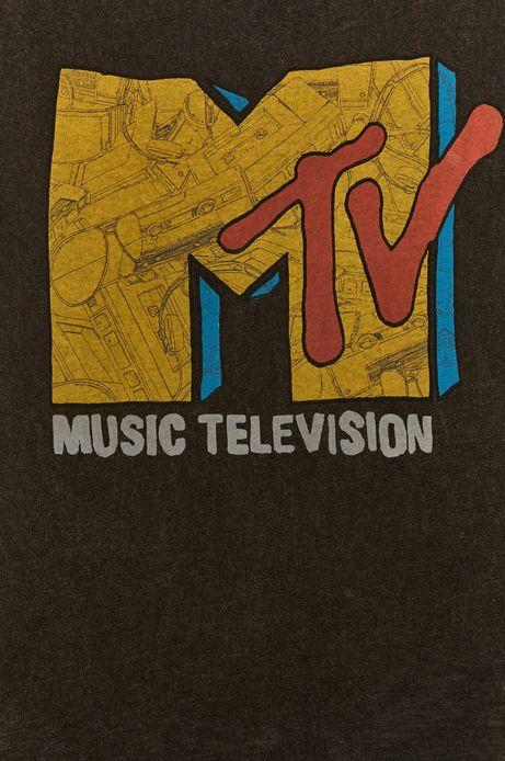 T-shirt damski z nadrukiem MTV szary
