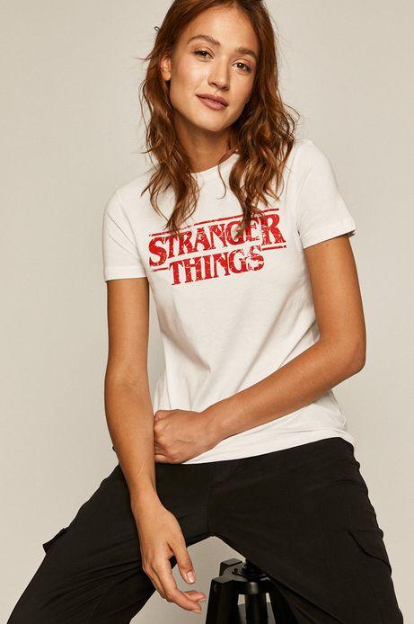 T-shirt damski z nadrukiem Stranger Things biały