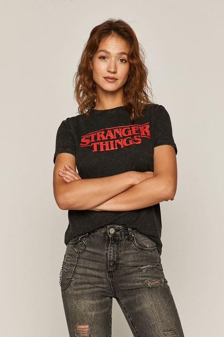 T-shirt damski z nadrukiem Stranger Things szary