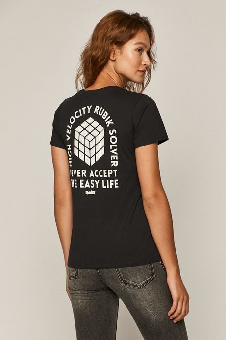 T-shirt damski z nadrukiem Kostka Rubika szary
