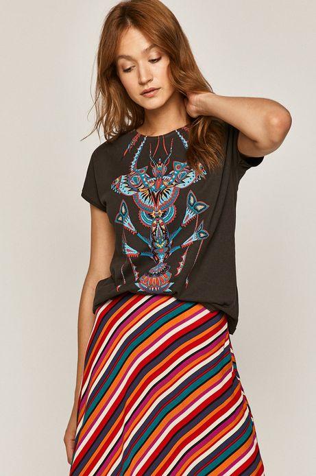 T-shirt damski wzorzysty szary