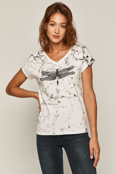 T-shirt damski by Kasia Walentynowicz, Zagrywki biały