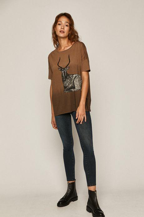 T-shirt damski by Kasia Walentynowicz, Zagrywki brązowy
