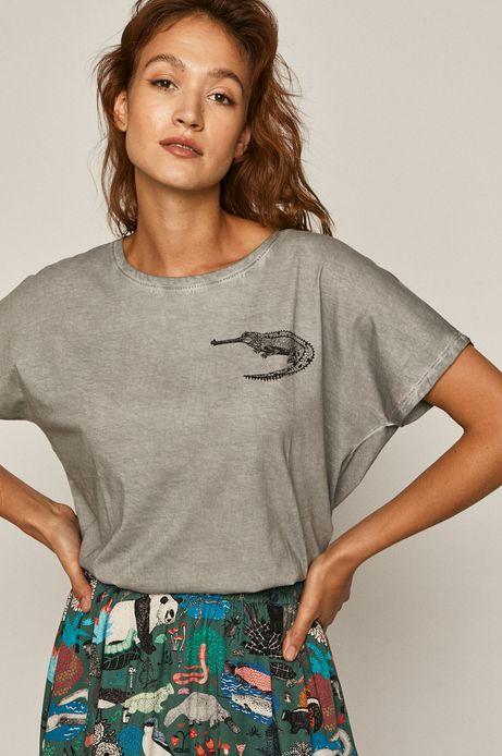 T-shirt damski by Kasia Walentynowicz, Zagrywki szary