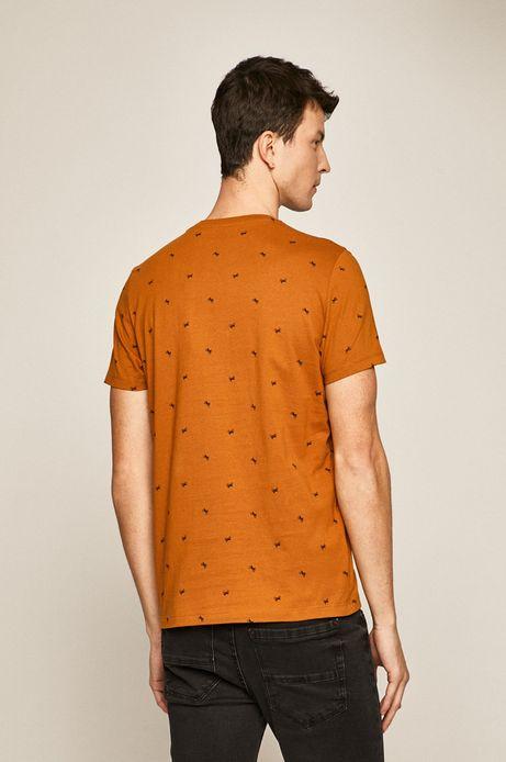 T-shirt męski z nadrukiem w motocykle pomarańczowy