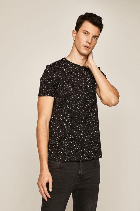 T-shirt męski w kropki czarny