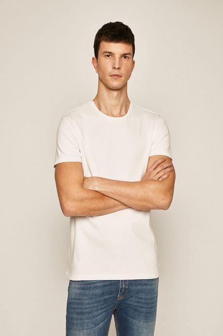 T-shirt męski z okrągłym dekoltem biały